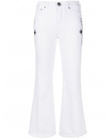 Jacob Cohen Crystal-embellished Cropped Flared Jeans - Wit afbeelding