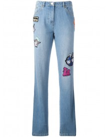 Kenzo - Badge Appliquéd Boyfriend Jeans - Women - Cotton - 38 afbeelding