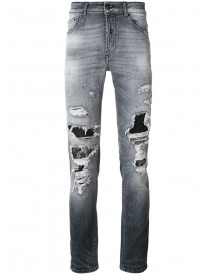 Marcelo Burlon County Of Milan - Distressed Patch Jeans - Men - Cotton/polyester/spandex/elastane - 33 afbeelding