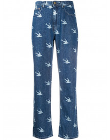 Mcq Alexander Mcqueen Sparrow Print High-rise Jeans - Blauw afbeelding