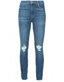 Mother - Distressed Knees Slim Jeans - Women - Cotton/polyester/spandex/elastane - 24 afbeelding