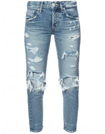 Moussy - Distressed Cropped Jeans - Women - Cotton - 28 afbeelding