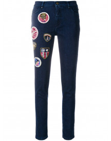 Mr & Mrs Italy Decoratieve Patch Cropped Jeans - Blauw afbeelding