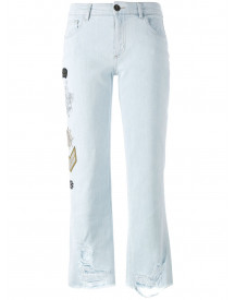 Mr & Mrs Italy Embellished Multi-patch Jeans - Blauw afbeelding