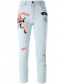 Mr & Mrs Italy - Tattoo Print Embellished Jeans - Women - Cotton/spandex/elastane - 42 afbeelding
