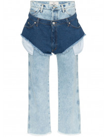 Natasha Zinko High Waisted Jeans With A Denim Shorts Layer - Blauw afbeelding