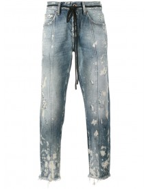 Off-white - Diagonal Stripe Print Cropped Jeans - Men - Cotton/acrylic/polyester - 33 afbeelding