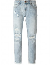 One Teaspoon - Cropped Distressed Jeans - Women - Cotton - 30 afbeelding