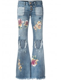 One Teaspoon - Distressed Orchid Print Flared Jeans - Women - Cotton - 25 afbeelding