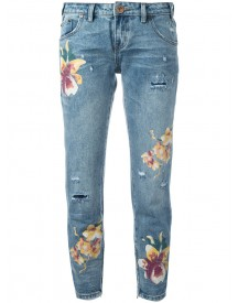 One Teaspoon - Orchid Print Distressed Cropped Jeans - Women - Cotton - 27 afbeelding