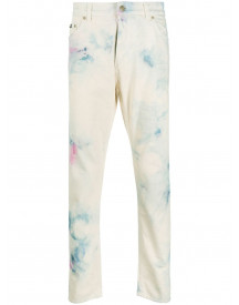 Palm Angels Tie Dye 5 Pockets White Multicolor - Nude afbeelding