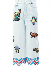 Peter Pilotto Embroidered Patch Cropped Jeans - Blauw afbeelding