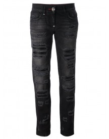 Philipp Plein - Distressed Boyfriend Jeans - Women - Cotton - 31 afbeelding