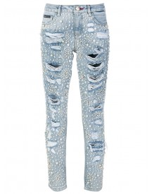 Philipp Plein - Embellished Slim-fit Jeans - Women - Cotton/polyester - 26 afbeelding