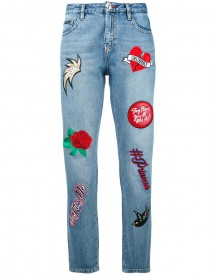 Philipp Plein - Embroidered Cropped Jeans - Women - Cotton/polyester - 27 afbeelding