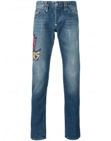Philipp Plein - Embroidered Patch Jeans - Men - Cotton - 31 afbeelding