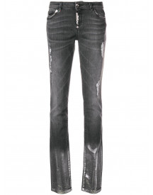 Philipp Plein Ripped Washed Slim Jeans - Grijs afbeelding