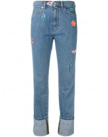 Ps By Paul Smith - Embroidered Patch Straight Jeans - Women - Cotton - 26 afbeelding