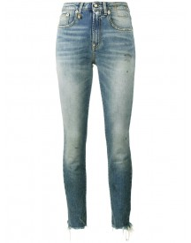 R13 - Jenny Washed Blue Mid Rise Skinny Jeans - Women - Cotton/spandex/elastane - 31 afbeelding
