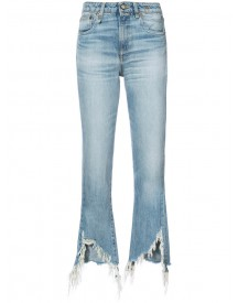 R13 - Torn Hem Cropped Jeans - Women - Cotton - 28 afbeelding