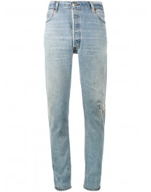 Re/done - Distressed High Waisted Slim Fit Jeans - Women - Cotton - 32 afbeelding