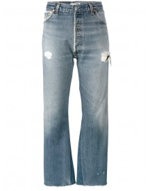 Re/done - Originals Distressed Blue High Waisted Cropped Jeans - Women - Cotton - 26 afbeelding