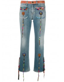 Roberto Cavalli - Beaded Fringes Cropped Jeans - Women - Cotton/spandex/elastane - 38 afbeelding