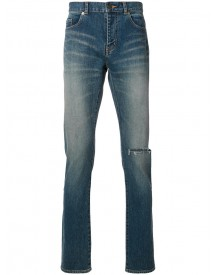 Saint Laurent - Busted Knee Slim Fit Jeans - Men - Cotton/spandex/elastane - 31 afbeelding