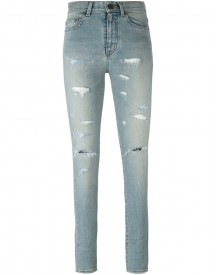 Saint Laurent - Destroyed Skinny Jeans - Women - Cotton/spandex/elastane - 25 afbeelding