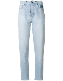 Saint Laurent - High Waisted Tapered Jeans - Women - Cotton - 25 afbeelding