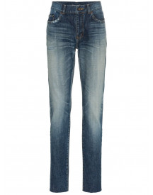 Saint Laurent Midblue Skinny Distressed Jeans - Blauw afbeelding