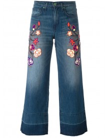 Sandrine Rose - Floral Embroidered Cropped Jeans - Women - Cotton - 26 afbeelding