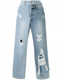 Sjyp Cropped Jeans - Blauw afbeelding