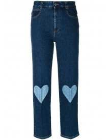 Stella Mccartney - Cropped Heart-embroidered Jeans - Women - Cotton/spandex/elastane - 25 afbeelding