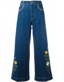 Stella Mccartney - Floral Patch Flared Jeans - Women - Cotton/spandex/elastane - 26 afbeelding