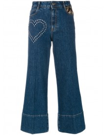 Stella Mccartney - Stud Detail Cropped Flare Jeans - Women - Cotton/acrylic/polyester/metallic Fibre - 25 afbeelding