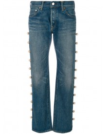 Tu Es Mon Tresor - Jeans With Side Trim Pearl Embellishment - Women - Cotton - 1 afbeelding