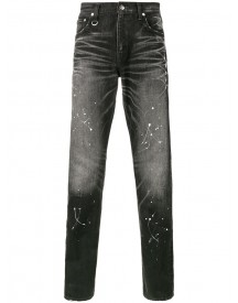 Uniform Experiment - Paint Splatter Slim-fit Jeans - Men - Cotton/snake Skin/polyurethane - 30 afbeelding