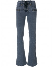 Unravel Project - Lace-up Fastening Bootcut Jeans - Women - Cotton/acrylic/polyester/viscose - 27 afbeelding