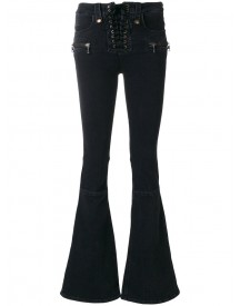 Unravel Project - Lace-up Fastening Flared Jeans - Women - Cotton/polyester/spandex/elastane - 26 afbeelding