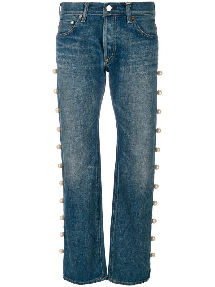 Image Tu Es Mon Tresor - Jeans With Side Trim Pearl Embellishment - Women - Cotton - 1