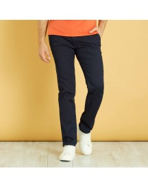 Chinobroek Van Stretch Denim Met Ribbels afbeelding