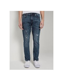 Tom Tailor Denim Conroy Tapered Jeans, Heren, Destroyed Mid Stone Blue Denim, 28/32 afbeelding