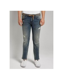 Tom Tailor Denim Piers Slim Jeans In Destroyed Look, Destroyed Mid Stone Wash, 33/32 afbeelding