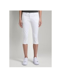 Tom Tailor Alexa Slim Satijn Stretch Capri Broek, Dames, White, 44 afbeelding