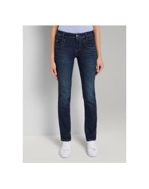 Tom Tailor Alexa Straight Jeans, Dames, Dark Stone Wash Denim, 33/32 afbeelding