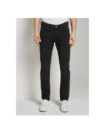 Tom Tailor Josh Regular Jeans, Heren, Used Bleached Black Denim, 36/36 afbeelding