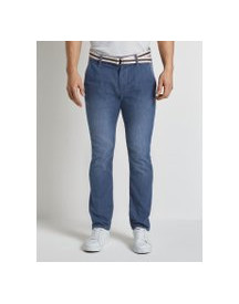 Tom Tailor Josh Regular Slim Chino Jeans, Heren, Mid Stone Wash Denim, 32/30 afbeelding
