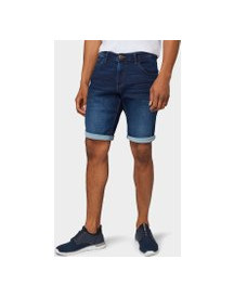 Tom Tailor Josh Regular Slim Denim Short, Heren, Dark Stone Wash Denim, 40 afbeelding