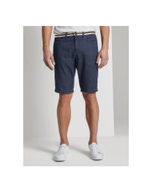 Tom Tailor Josh Regular Slim Jeans Shorts Met Riem, Heren, Dark Stone Wash Denim, 29 afbeelding